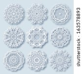 circle lace ornament  round... | Shutterstock .eps vector #163578893