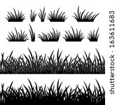 Line seamless and set of grass, element for design, black silhouette isolated on white background. Vector - stock vector