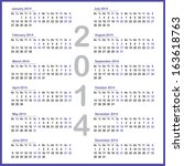 simple 2014 year calendar | Shutterstock .eps vector #163618763
