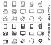 communication device thin icons ... | Shutterstock .eps vector #163649447
