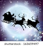 santa flying in his sleigh with ... | Shutterstock .eps vector #163659497