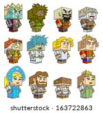 heroes of fairy tales. cubic... | Shutterstock . vector #163722863