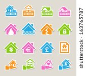 house insurance icons set. ... | Shutterstock .eps vector #163765787