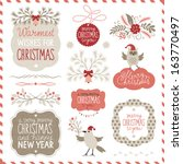 set of christmas graphic... | Shutterstock .eps vector #163770497