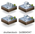set of  icons isometric to the... | Shutterstock . vector #163804547