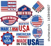 set of various made in the usa... | Shutterstock .eps vector #163844807