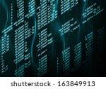 glowing digital code on a dark