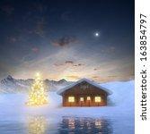 Alpine Cabin And Illuminated...
