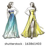 art,blue,catwalk,color,contour,couture,decoration,design,drawing,drawn,dress,embroidery,fashion,freehand,gown