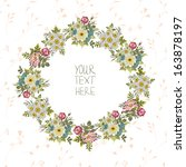 vintage floral wreath. birthday ...   Shutterstock .eps vector #163878197