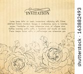 invitation card with roses.... | Shutterstock .eps vector #163882493