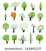 set of tree icons. vector... | Shutterstock .eps vector #163892237