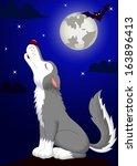 wolf cartoon howling | Shutterstock .eps vector #163896413