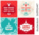 christmas set of typographic... | Shutterstock .eps vector #163901447