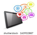 tablet computer social media... | Shutterstock . vector #163932887
