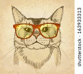 Hipster Cat. Vector...