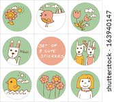 set of 8 cute stickers with... | Shutterstock .eps vector #163940147