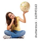 Girl Holding A World Globe...