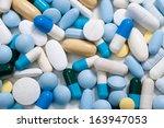 heap of medicine pills. ... | Shutterstock . vector #163947053