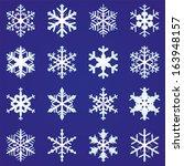 set of 16 vector snowflakes  | Shutterstock .eps vector #163948157