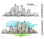 cityscape.  hand drawn vector | Shutterstock .eps vector #163950143