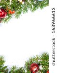 christmas background with balls ... | Shutterstock . vector #163966613