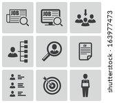 vector black job search icons... | Shutterstock .eps vector #163977473