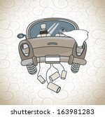 just married car  over pattern... | Shutterstock .eps vector #163981283