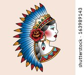 native american girl in... | Shutterstock .eps vector #163989143
