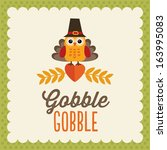 retro thanksgiving day card... | Shutterstock .eps vector #163995083
