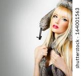 Beautiful Blonde Girl In Fur...