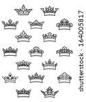 ornated heraldic crowns set for ...   Shutterstock .eps vector #164005817