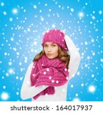 winter  people and happiness... | Shutterstock . vector #164017937