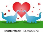 dinosaur lover valentine... | Shutterstock .eps vector #164020373
