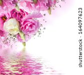 Stock photo bouquet of pink roses and butterfly floral background 164097623
