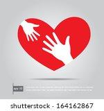 helping hands in heart vector... | Shutterstock .eps vector #164162867