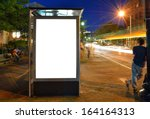 bus shelter billboard at night | Shutterstock . vector #164164313
