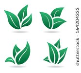 green sign  eco leaves. natural ... | Shutterstock . vector #164204333