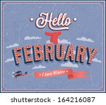 hello february typographic... | Shutterstock .eps vector #164216087