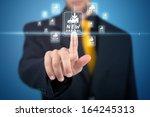 businessman pressing promotion... | Shutterstock . vector #164245313