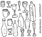 bottles and glasses. vector | Shutterstock .eps vector #164290547