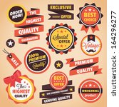 set of vector vintage badges... | Shutterstock .eps vector #164296277