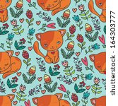 Stock vector cute kitten and flowers blue seamless pattern 164303777