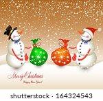 snow men with bags    Shutterstock .eps vector #164324543
