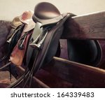 Stock photo rider on horse vintage retro style 164339483