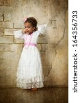 beautiful mulatto girl in white ... | Shutterstock . vector #164356733