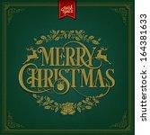 merry christmas vintage... | Shutterstock .eps vector #164381633