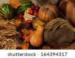 apples in crate with pumpkins... | Shutterstock . vector #164394317