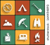 camping flat vector icons set | Shutterstock .eps vector #164454893