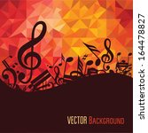 music background with fly notes | Shutterstock .eps vector #164478827